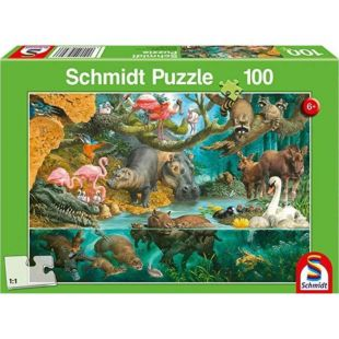 Schmidt Puzzle Animal Families On The Banks 100τμχ